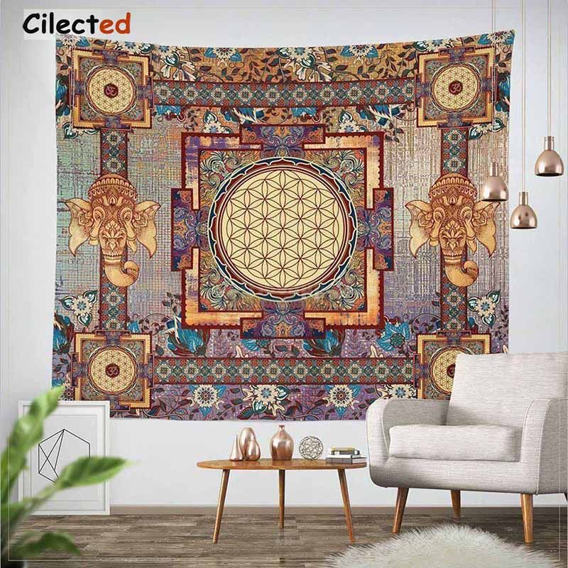 Cilected India Mandala Tapestry Gobelin <font><b>Hanging</b></font> Wall Floral Tapestry Fabric Polyester/Cotton Hippie Boho Bedspread Table Cloths