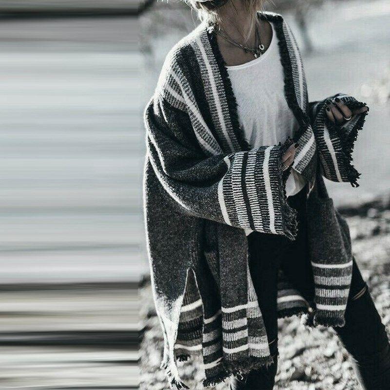 Women Fashion Stripe Flared Sleeve Open Front Cardigan Knit Coat Sweater Autumn Winter Knitwear Outwear Jacket