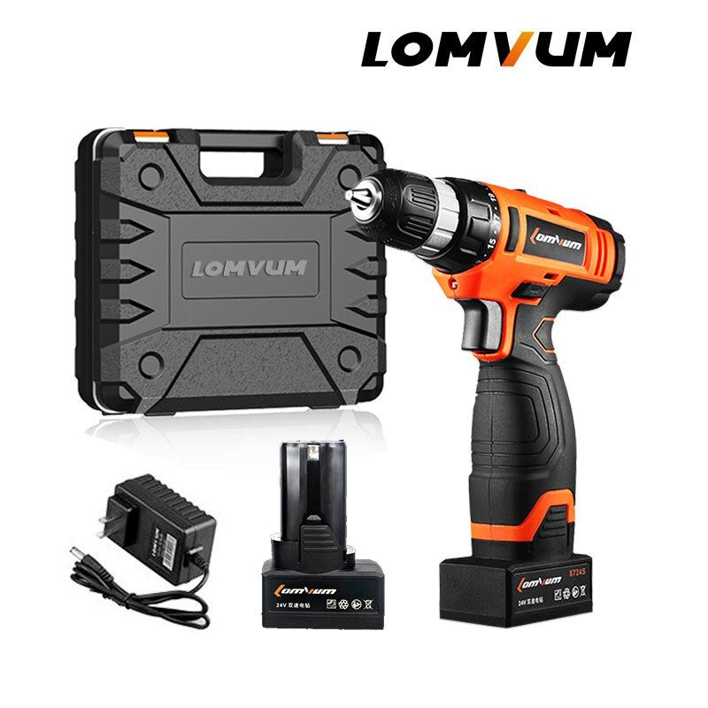 LOMVUM Electric Drill Screwdriver Cordless Screwdriver Tool Impact Cordless Drills 2 Lithium-Ion Battery Screw Rotary Tool