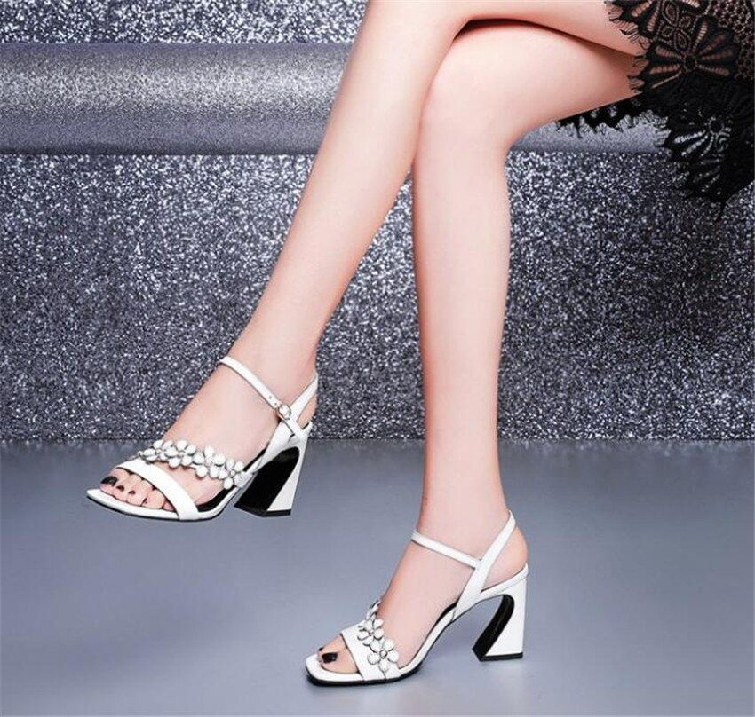 MLRCRIYG 2018 summer new leather ladies' sandals with high heels