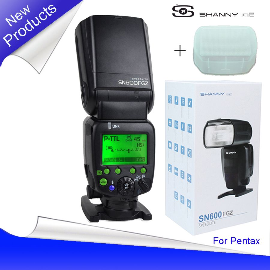New Shanny SN600FGZ P-TTL GN60 1/8000s Slave On-Camera Flash speedlite for Pentax K100 K100D K200D K-7 K-x K-r K-5 K-01