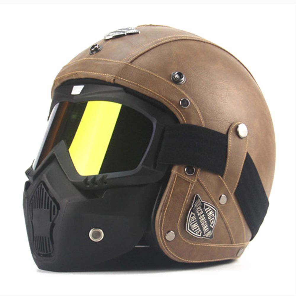 New Retro Vintage German Style Motorcycle Helmet 3/4 Open Face Helmet Scooter Chopper Cruiser Biker Moto Helmet DOT Glasses Mask