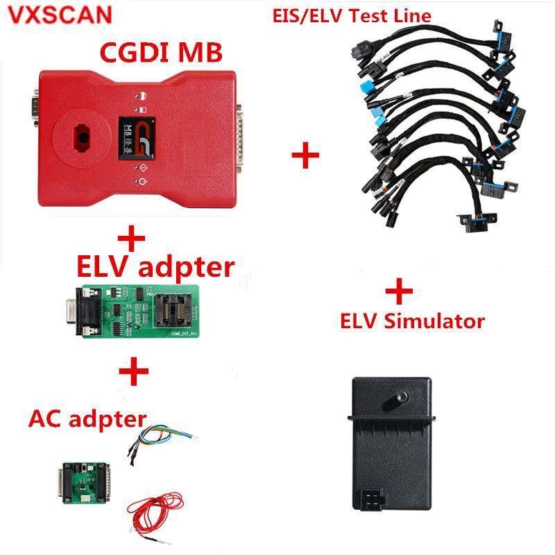CGDI Prog MB für Benz Auto Schlüssel Programmierer Plus AC Adapter und ELV Simulator und ELV Reparatur Adapter und EIS /ELV test linien