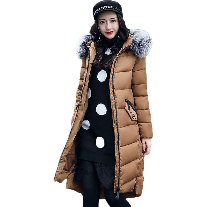 Winter Jackets New Women Slim Warm Wadded jacket Long sleeve Down Parkas Hooded Cotton-padded Big yards