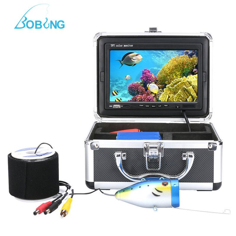 F002MD HD Fish Finder With 50m Waterproof Cable Line Underwater Camera Fishing Vision Tools In Aluminum Tackle Box