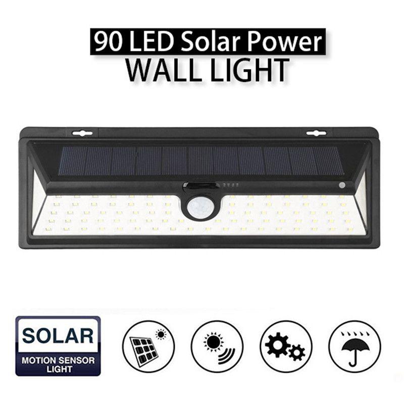 Mising IP65 Waterproof 90 LED Solar Light 2835 SMD White Solar Power Outdoor Garden Lighting PIR Motion Sensor Pathway Wall Lamp