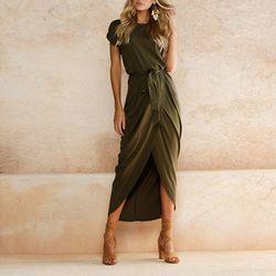 2018 Mode Femmes D'été Robes casual Bohème Asymétrique Ceintures O-cou Cheville-longueur Robes Élégant À Manches Courtes Robes
