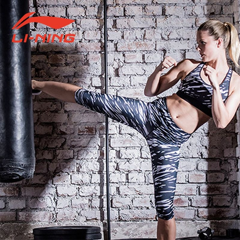 Li-Ning Women 3/4 Layer Shorts Running Training Fitness Tights Shorts Stretch Fabric Breathable Sports Trouses LiNing AUQM018-2