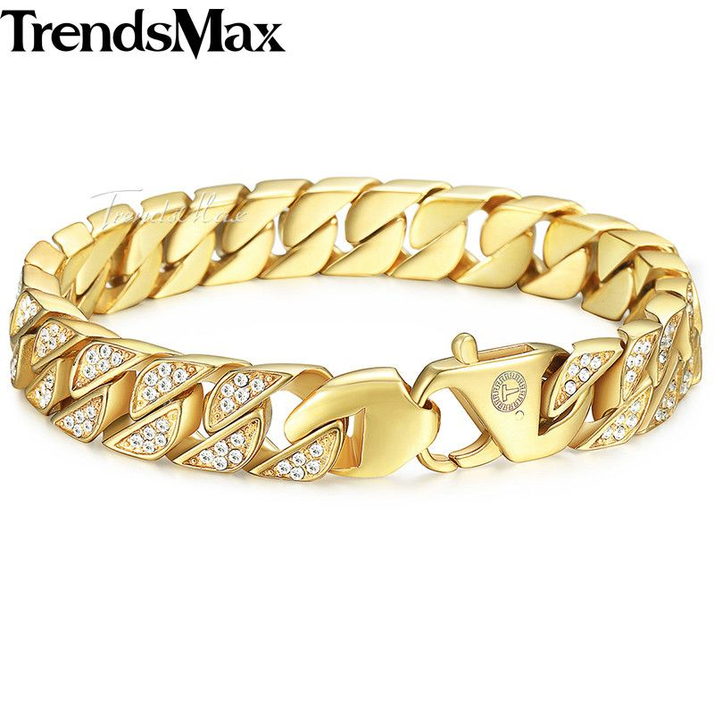 Trendsmax Miami Curb Cuban Link Mens Bracelet Chain Stainless Steel Hip Hop Iced Out Gold-color 12mm KHB476