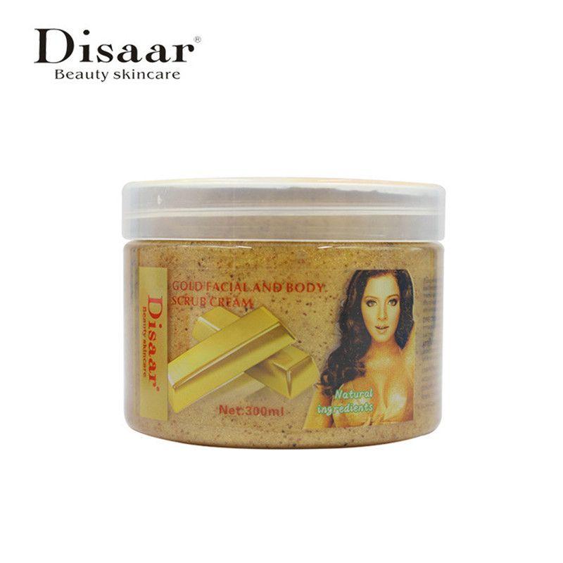 Disaar 24K Gold Body Face Scrub Whitening Exfoliating Cream MassagerShrink Pores Dead Skin Remover Body Skin Care 300ml