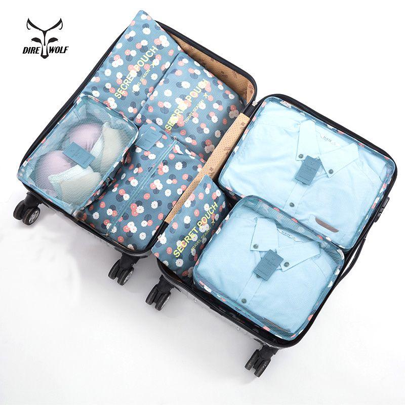 7PCS/Set High Quality Oxford Cloth Travel Mesh Bag Luggage Organizer Packing Cube Organizer Travel Bags Storage Bags Sets
