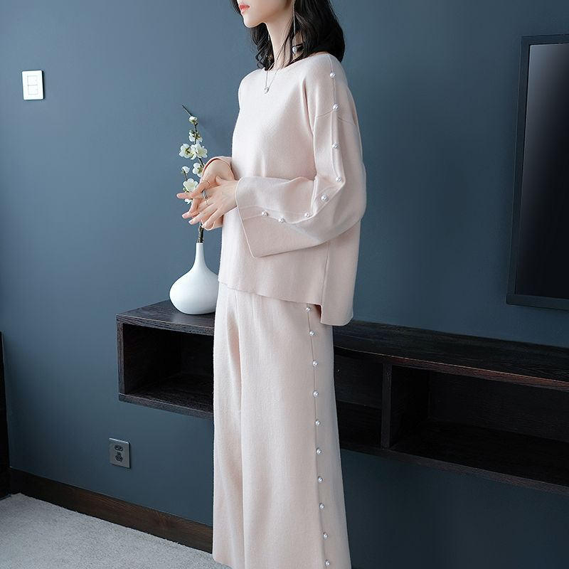 Autumn And Winter Temperament Women's Hotel Style Loose Wide-leg Pants Two-piece Suit Noble Elegant Knit Women's Clothing