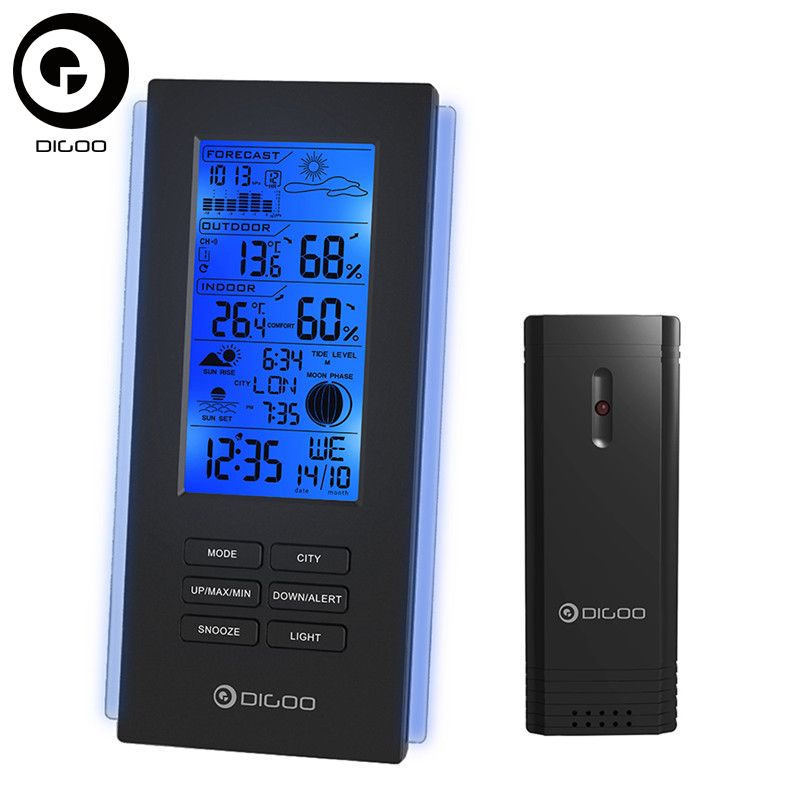 Digoo DG-TH6699 Wireless Thermometer Hygrometer Weather Station <font><b>Barometer</b></font> Forecast Thermometer USB Outdoor Sensor Clock