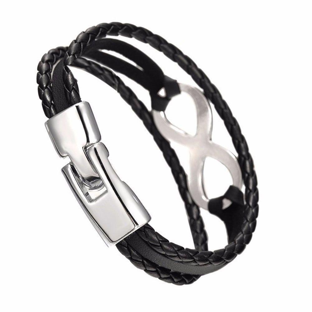 Infinity Charm Bracelet Bracelet Tressé Faux En Cuir Corde Amitié Cadeau Bijoux