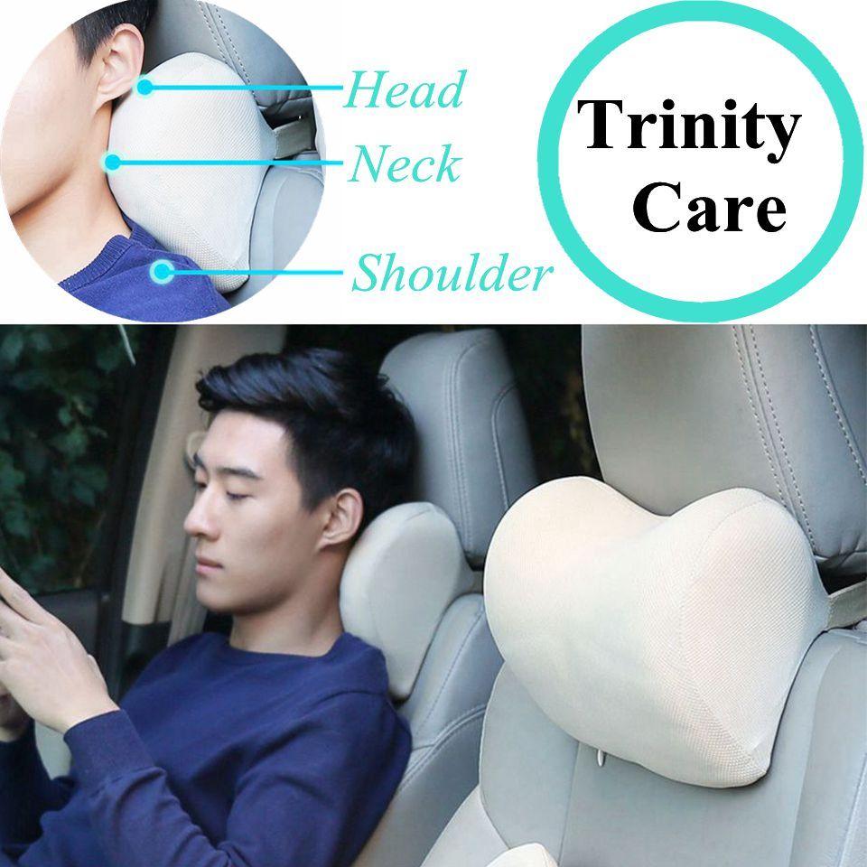 1 pièces voiture appui-tête cou oreiller pour siège chaise en auto mémoire mousse coton maille coussin tissu couverture souple tête reste voyage soutien