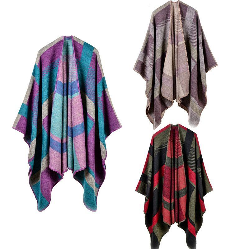 AIEnny Women Plaid Scarf Winter Autumn 2017 New Fashion Thick Warm Imitation Cashmere Shawl Female Slit Scarves Sweater Cape