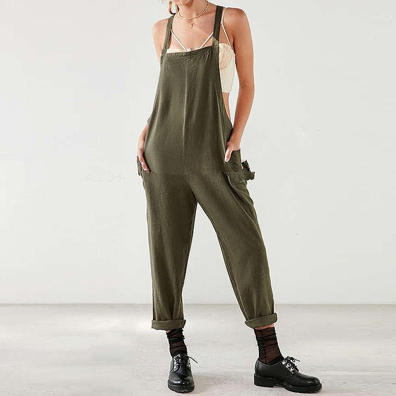 2017 Fashion Women Strappy Long Suspender Trousers Dungaree Overalls Casual Loose Military Harem Romper Jumpsuit Bib Cargo Pants