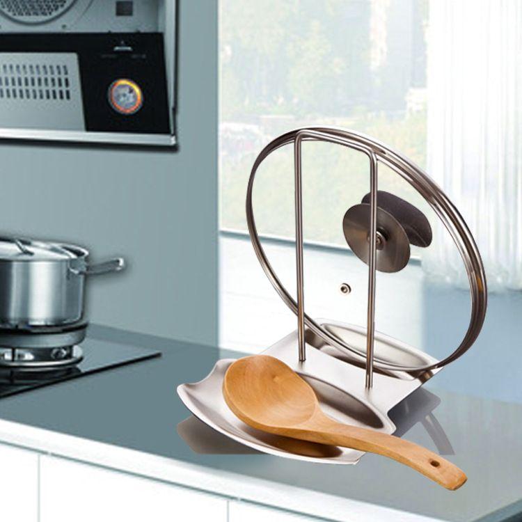 Accessoires de cuisine En Acier Inoxydable Pan Pot Rack Couvercle Couvercle Reste Stand Cuillère Titulaire Accueil Applicance Les Marchandises