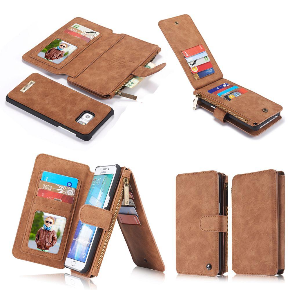 Echtes Leder Handy Brieftasche Tasche Für Apple iPhone 5 5 s SE 7 6 6 s 8 Plus Samsung Galaxy S6 S7 S8 Rand Plus Telefon fällen