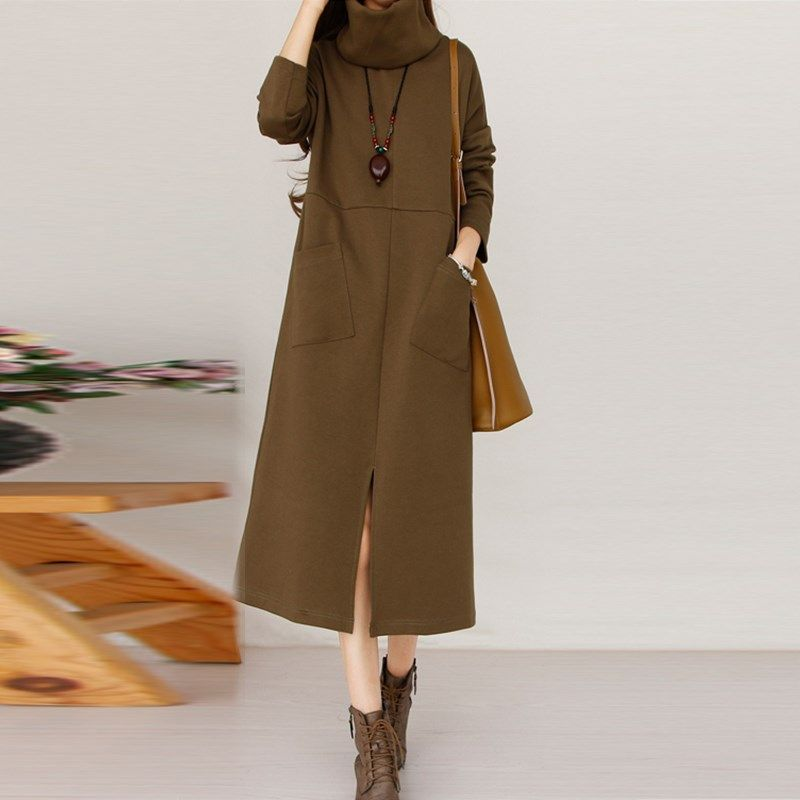 2017 Retro Fashion Women Large Size Loose Dress Women Autumn Dress Turtleneck Solid Long sleeves Vintage Female Casual Vestidos