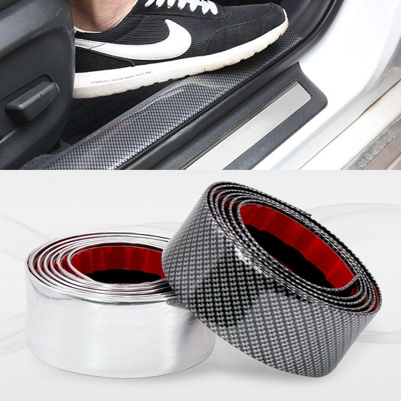 Car Door Stickers Auto Door chromium styling cover Protector Car Accessories  Moulding Strip Trim Front Bumper Carbon Fiber Type