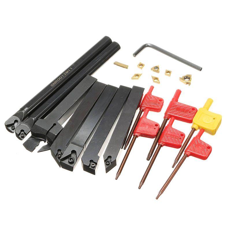 21Pcs/Set 12mm Shank Lathe Turning Tool Holder Boring Bar +Insert+Wrench S12M-SCLCR06/SER1212H16/SCL1212H06
