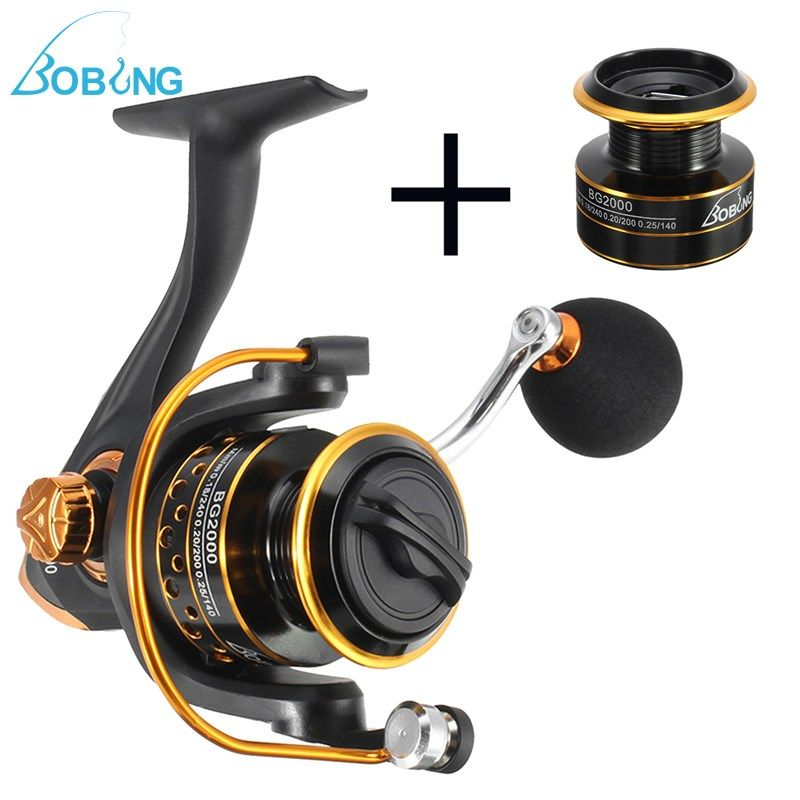 Bobing 10+1BB 5.2:1 Gapless Spinning Fishing Reel Wheel Metal Front Drag 1000-4000 CNC Rocker Carp Casting Gear+Spare Spool