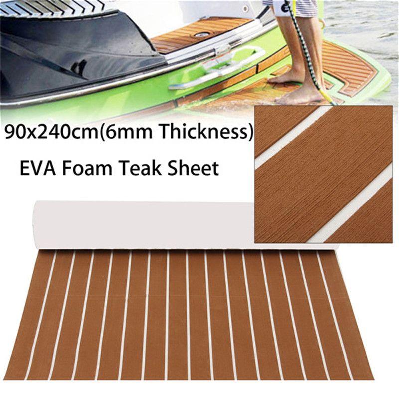 Hot Self Adhesive EVA Foam Teak Sheet Dark Brown Boat Yacht Synthetic Decking 0.6cm 90x240cm Foam Floor Mat Brown and White