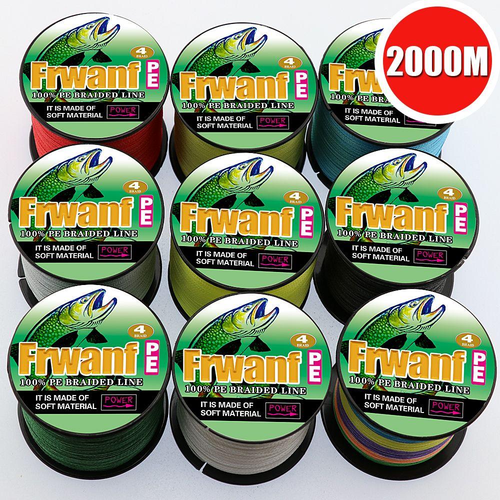 Frwanf 2000 Mt 4 Strang Geflochtene Angelschnur Multicolor Super Starke 4 Draht Multifilament Angelschnur Salzwasser Gewinde 6 100LB