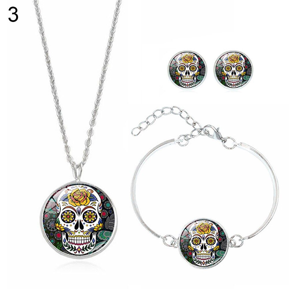 Fashion Women Skull Rose Earrings Necklace Bracelet Halloween Accessories Set
