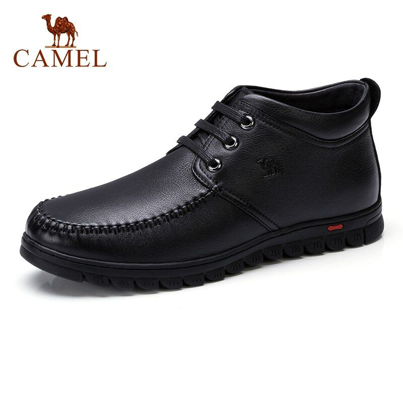 CAMEL Men Winter Boots Business Genuine Leather Ankle High-top Cotton Snow Boots With Full Fur lining for father
