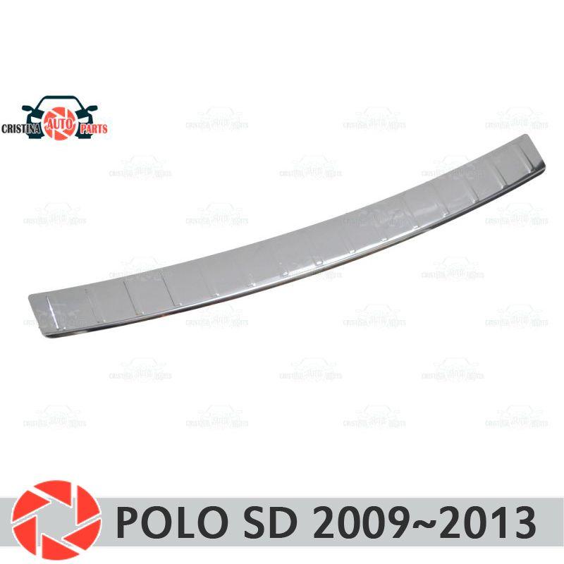 Schutz schutz platte auf hinten stoßstange für Volkswagen Polo Limousine 2009-2013 sill auto styling dekoration scuff panel zubehör