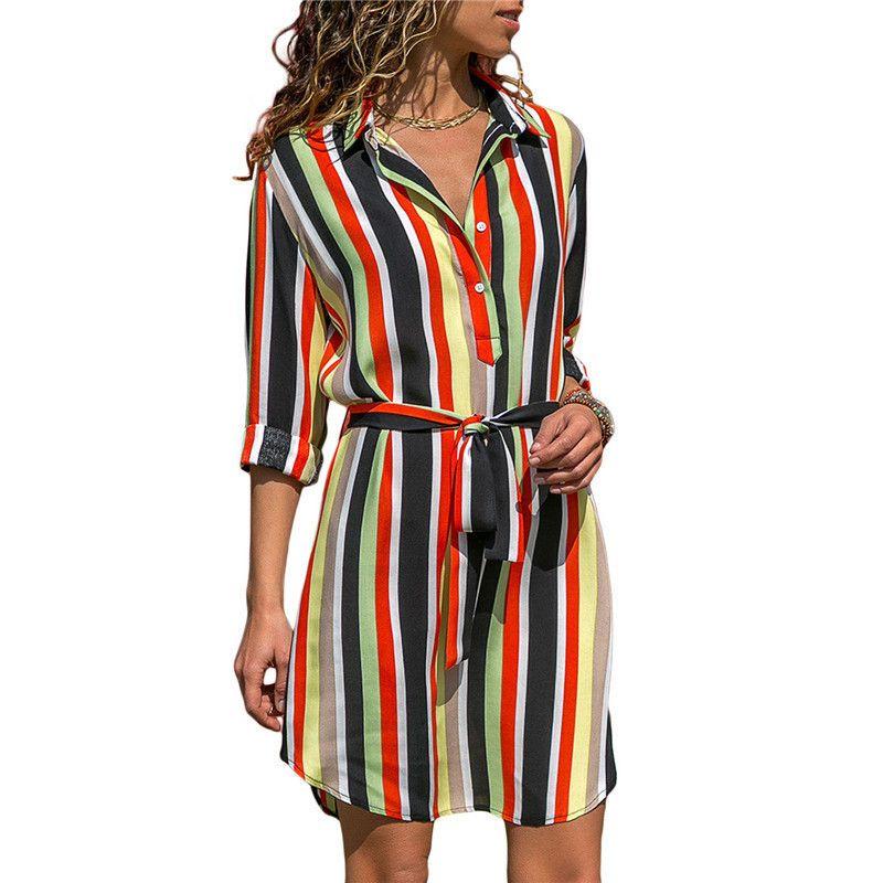 Long Sleeve Shirt Dress 2019 Summer Chiffon Boho Beach Dresses Women Casual Striped Print A-line Mini Party Dress Vestidos