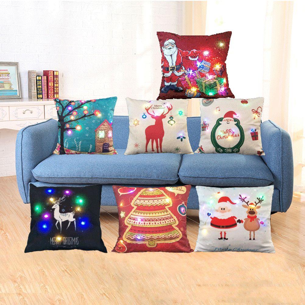 LED Luces de Navidad Fiesta de Navidad Decorativo Fundas de Almohada Throw Funda de Almohada Cama