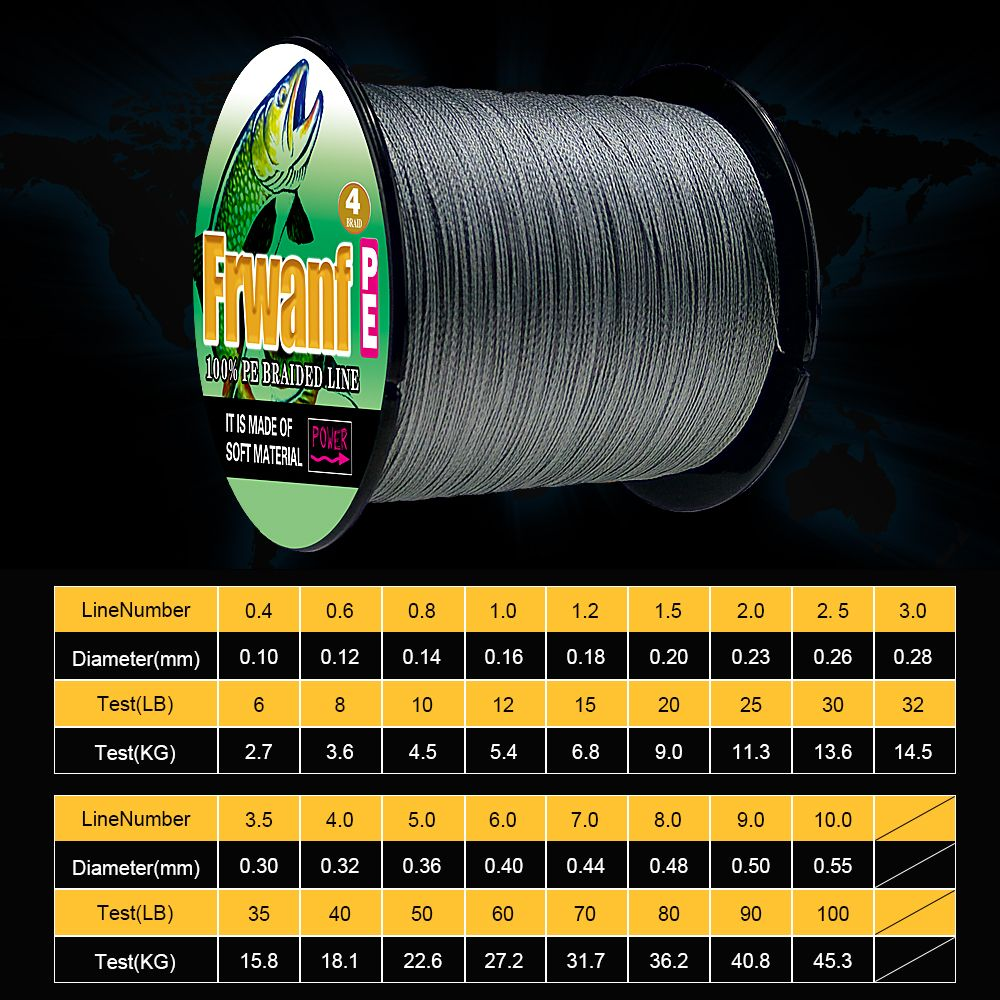 Frwanf 4 Braid Braided Fishing Line 500M Super Strong Multifilament Fishing Lines 4 Strand Peach Essays Rope 6LB 100LB