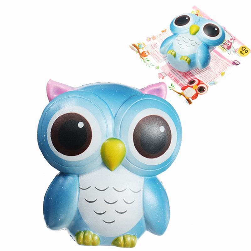 Hot Sunny Bling Rainbow for Squishy Owl 15cm Gift Slow Rising With Packaging Cute Animals Collection Decor Toy Phone Straps Blue
