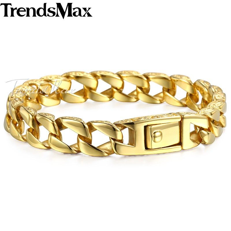 Trendsmax Mens Bracelet Gold Color 316L Stainless Steel Curb Cuban Link Chain Boys Fashion Wholesale Jewelry HB324