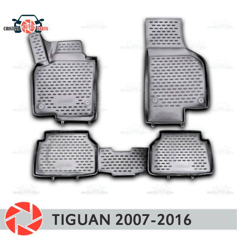 Für Volkswagen Tiguan 2007-2016 fußmatten teppiche non slip polyurethan schmutz schutz innen auto styling zubehör