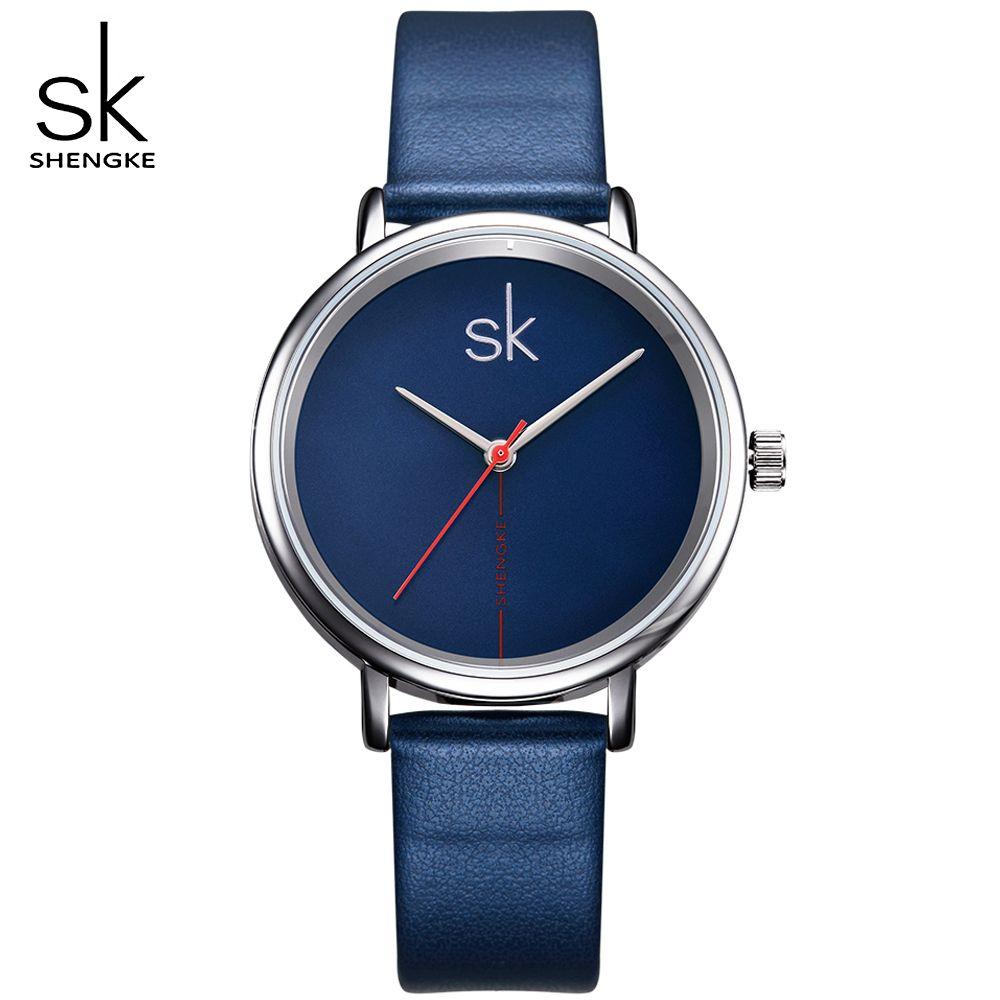 SK Marke Frauen Modeuhren Blau Lederband Damen Quarz Armbanduhren relogio feminino frauen Uhren