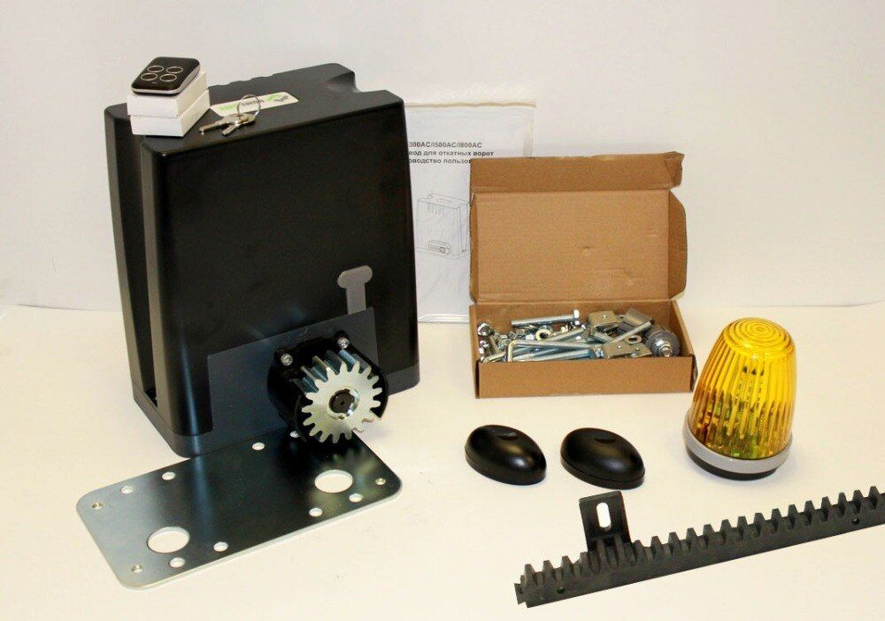 Drive kit DKC800 with mounting plate, photocells, warning light and toothed polymer rail