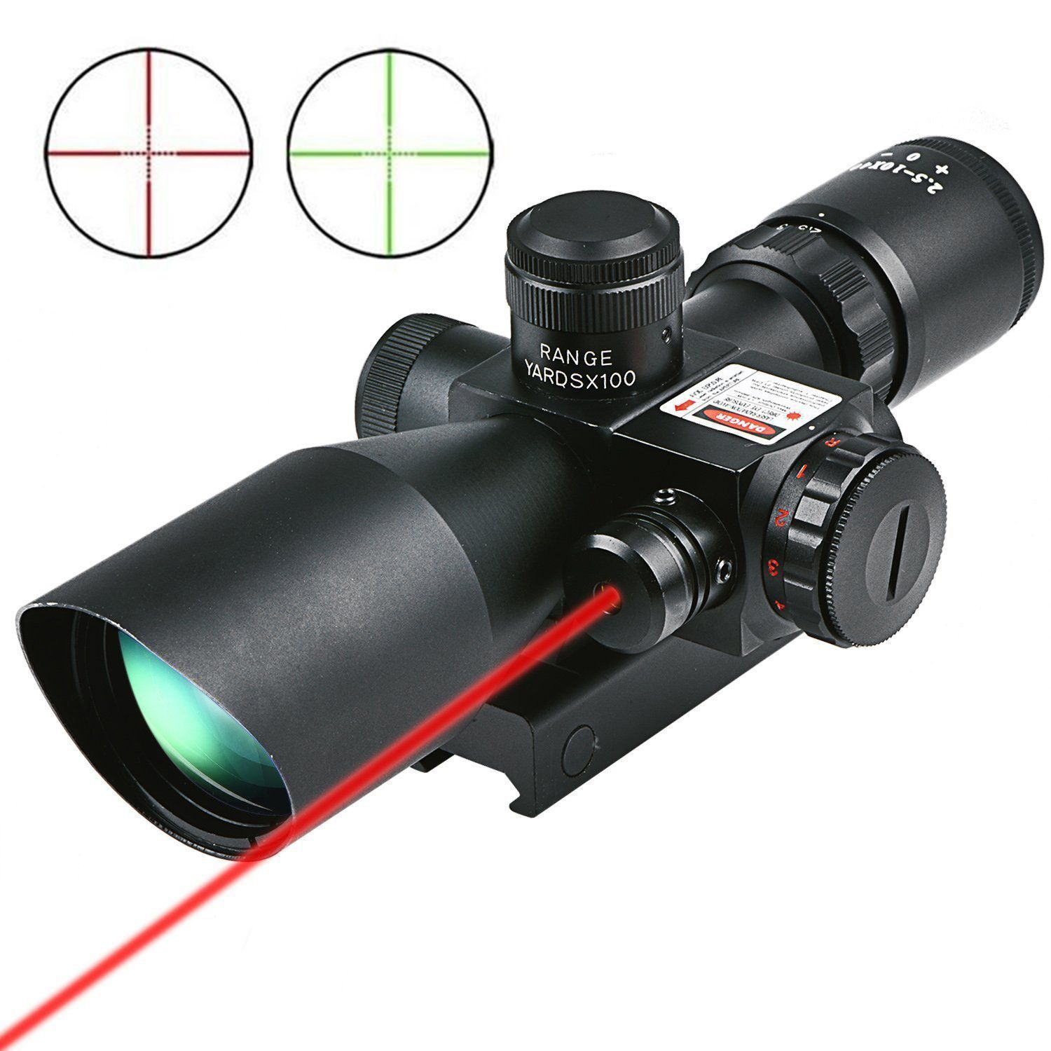 CVLIFE Hunting Rifle Scope 2.5-10x40 e Red Green Illuminated Mil-dot Gun RifleScopes Optics Sight Scope with 20mm & 11mm Mount