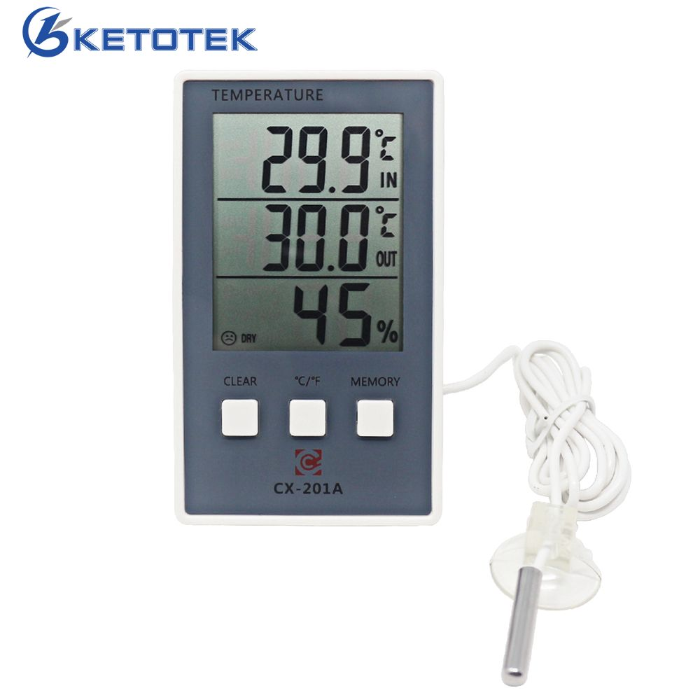 New LCD Digital Weather Station Thermometer Hygrometer In/Out Temperature Meter Indoor Humidity Meter with Temperature Sensor