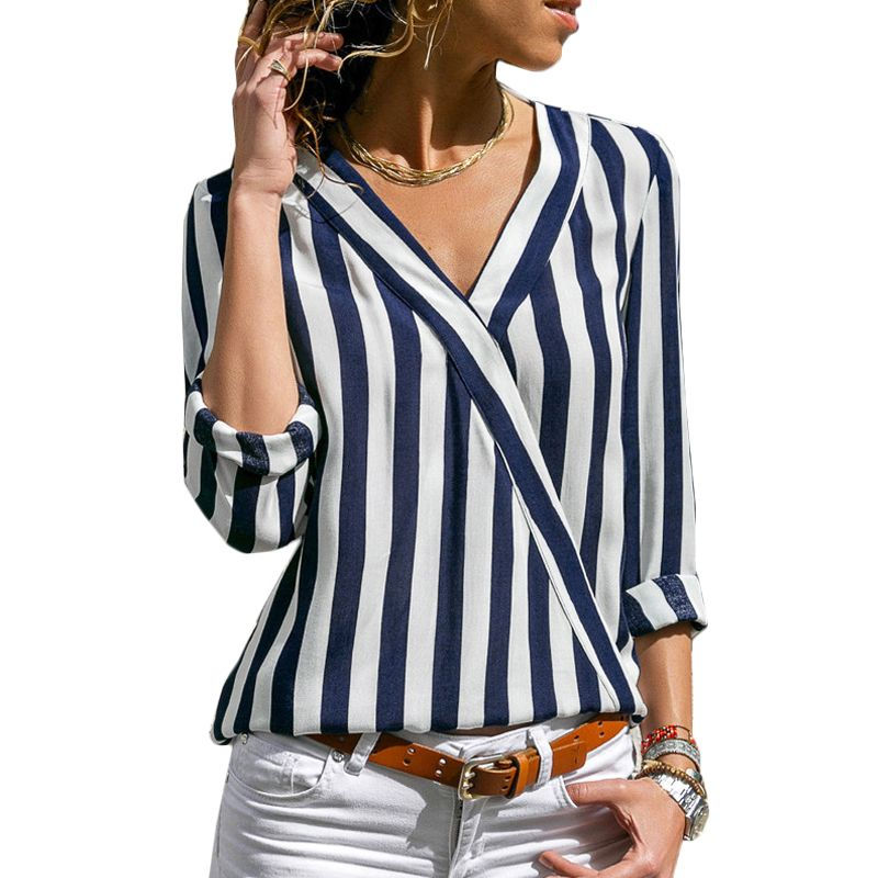 Women Striped Blouse Shirt Long Sleeve Blouse V-neck Shirts Casual Tops Blouse et Chemisier Femme Blusas Mujer de Moda 2019