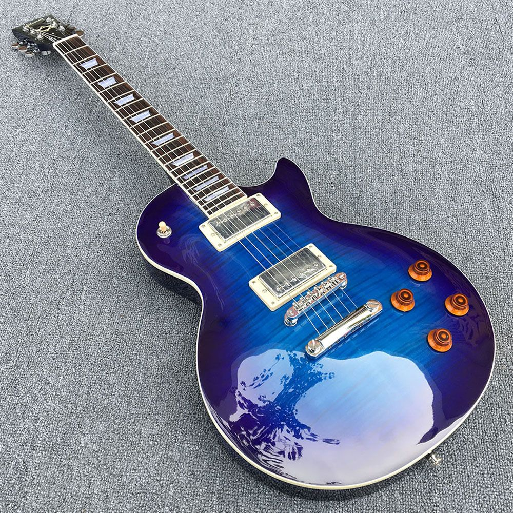 2018 New,One piece Body & Neck Custom LP Electric guitar,Solid Mahogany with Colorful blue,All color are Available Quick deliver