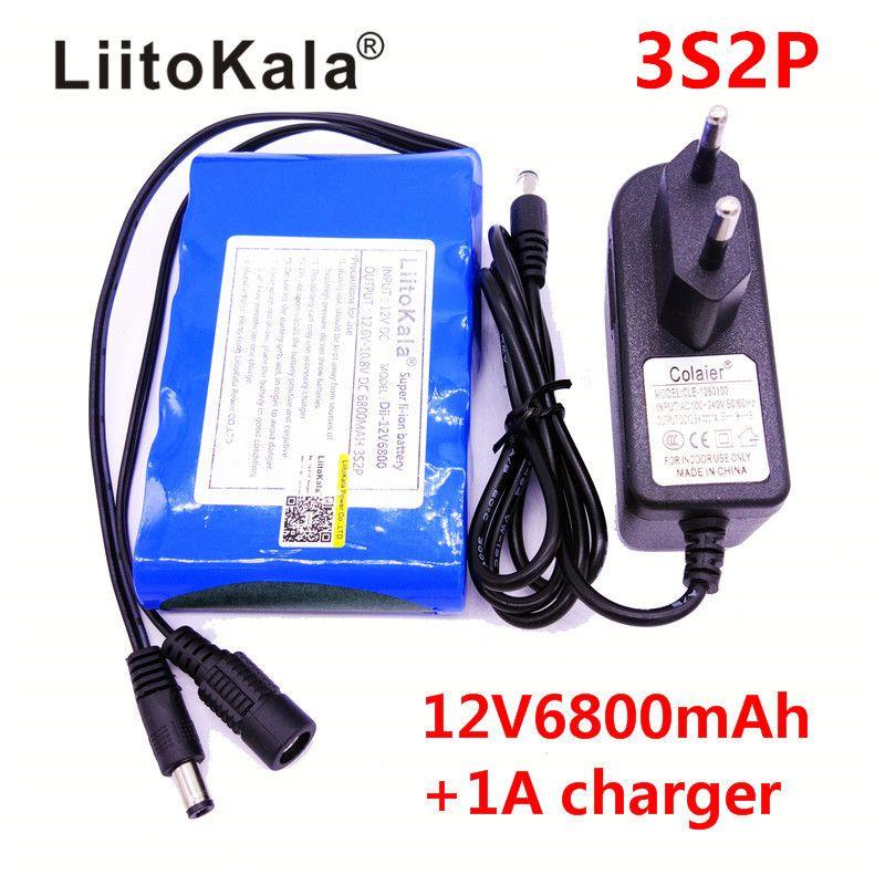 LiitoKala Portable Super 18650 Rechargeable Lithium Ion batterie capacité DC 12 V 6800 Mah CCTV Cam moniteur 12.6 V 1A chargeur