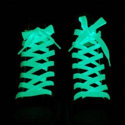 1 Paire Sport Chaussures Dentelle Polyester Néon Couleur Lumineux Fluorescent Lacets