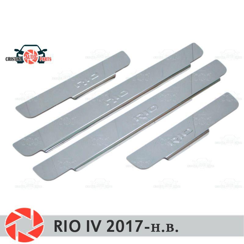 Einstiegsleisten für Kia Rio IV 2017-schritt platte inneren trim zubehör schutz scuff auto styling dekoration stempel modell