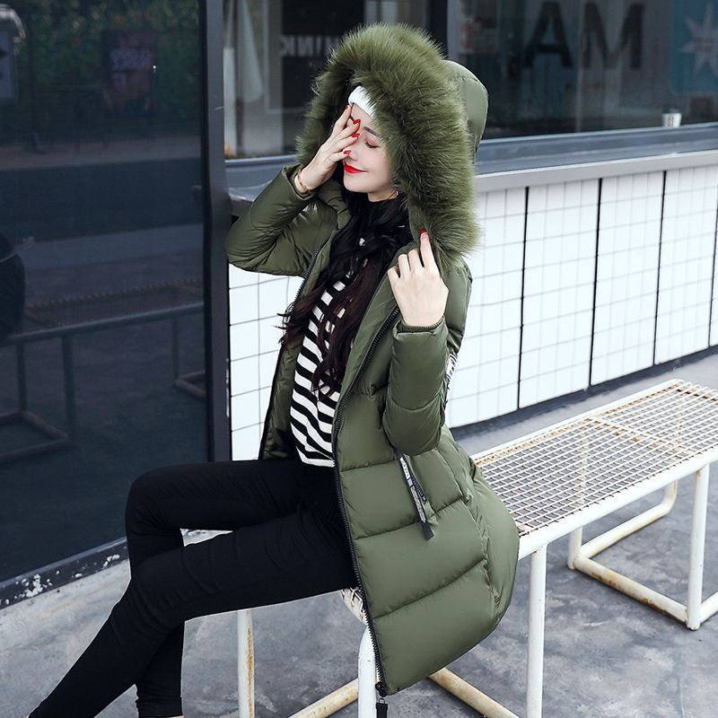 Mid-long Thicken Warm Cotton-padded Down Parkas Coat Faux Fur Collar Hooded Jacket