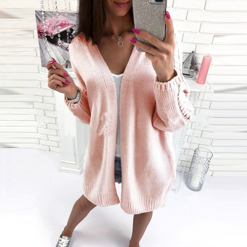 2017 Autumn Winter Long Sweater Women Warm Stylish Long Sleeve Loose Knitted Cardigan Long Cape Poncho Outerwear pull femme