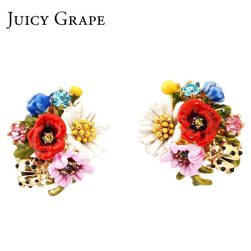 Mode de raisin juteux haut de gamme émail glaçure fleur série coccinelle boucles d'oreilles en argent aiguille fleur boucles d'oreilles pour femmes bijoux